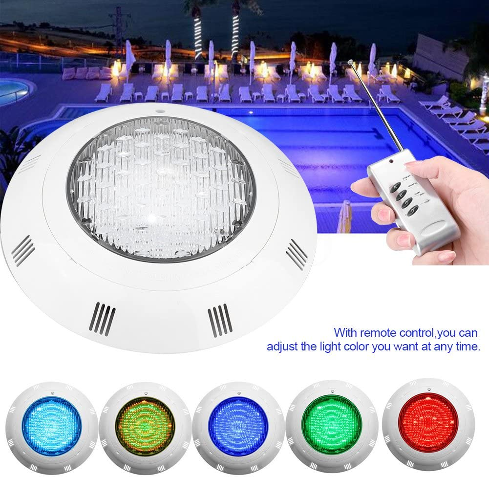 RGB Multi-Color Underwater Swimming Pool Light, 24W 24LEDs Underwater Light with IP68 Waterproof with Remote Control, LED Pool Decoration for Pool, Fountain, Aquarium, Landscape Lighting AC 12V