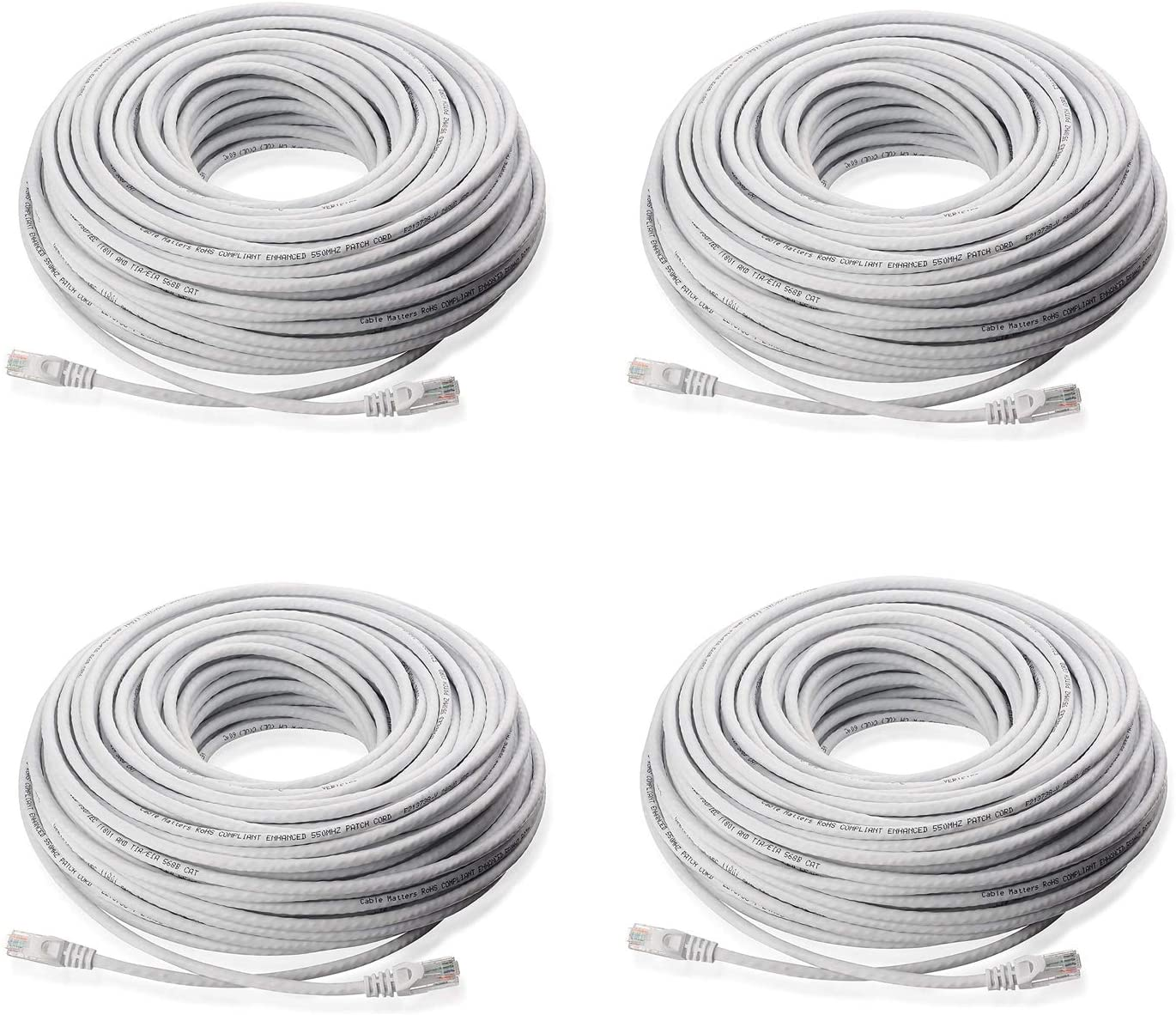 Lknewtrend (4) 150FT Feet CAT5 Cat5e Ethernet Patch Cable - RJ45 Computer Network Internet Wire PoE Switch Cord (4 Pack, 150 FT)