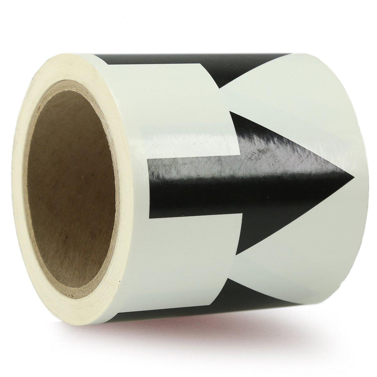 Accuform Signs RAW258BKWT Vinyl Directional Flow Arrow Tape, Black Arrow on White, 4