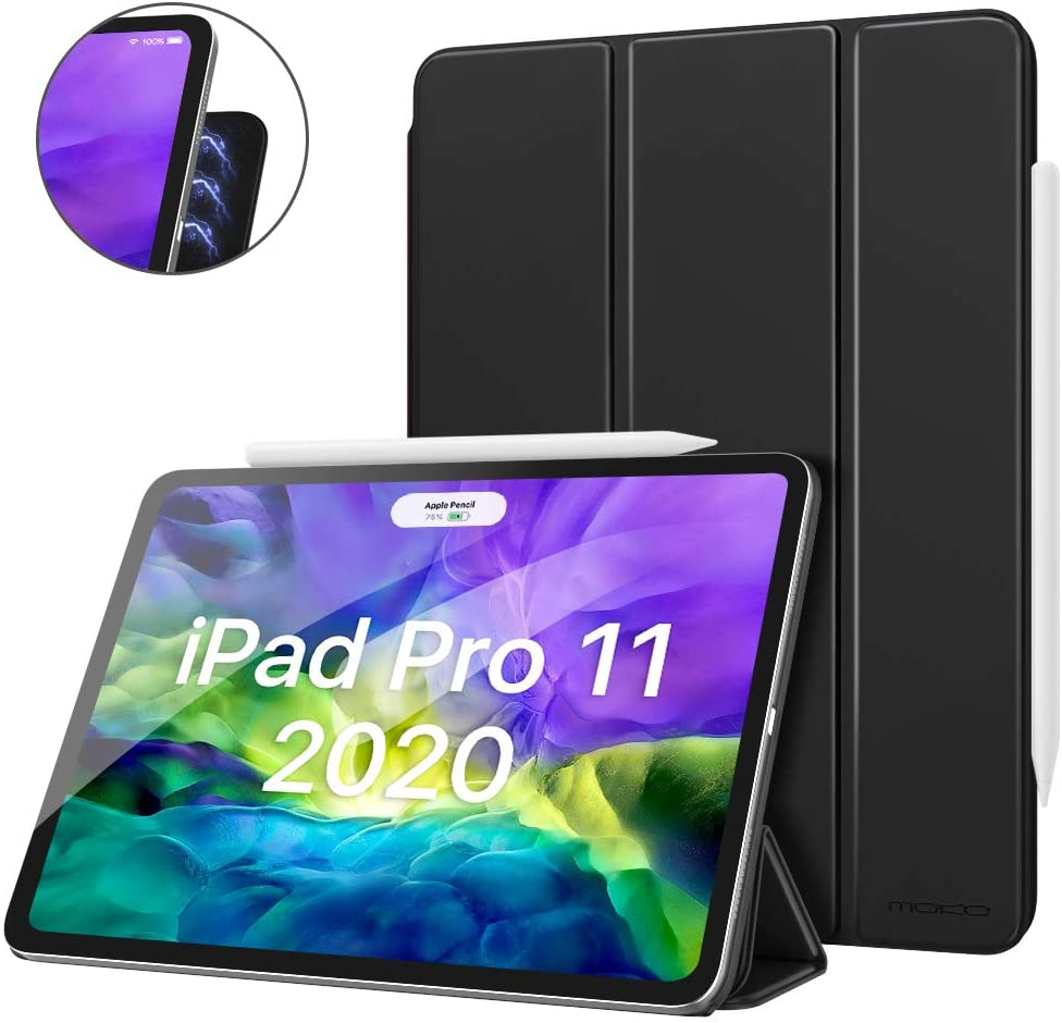MoKo Magnetic Smart Folio Case Fit iPad Pro 11 2nd Gen 2020 & 2018 [Support Apple Pencil 2 Charging] Slim Lightweight Shell Stand Cover, Auto Wake/Sleep Fit iPad Pro 11