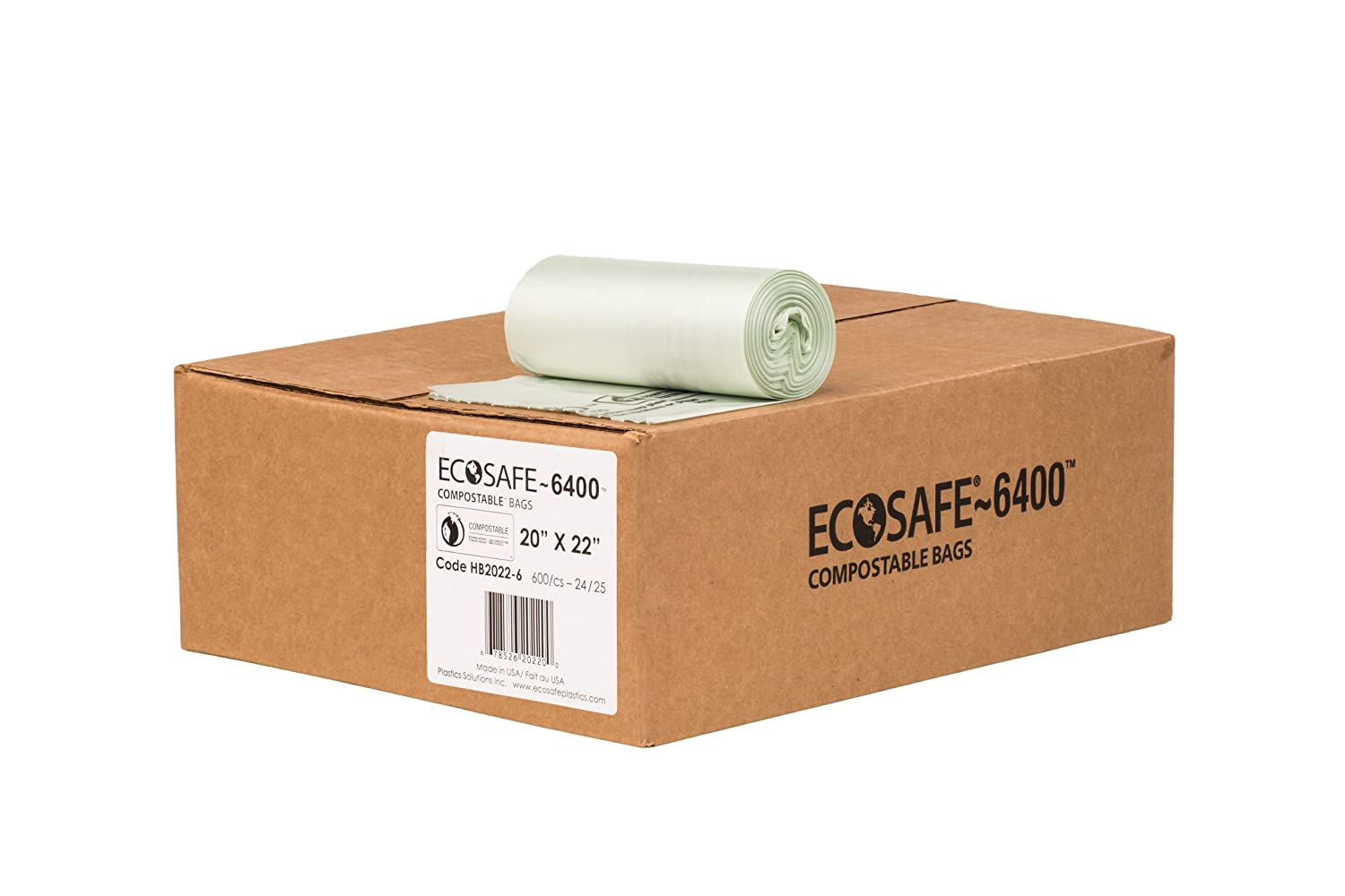 EcoSafe-6400 HB2022-6 Compostable Bag, Certified Compostable, 7-Gallon, Green (Pack of 600)