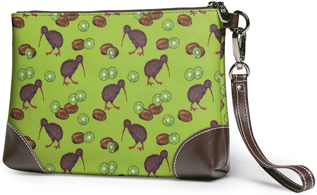 Kiwi Birds And Kiwi Fruits Below Leather Wristlet Clutch Bag Zipper Handbags Purses For Women Phone Wallets With Strap Card Slots
