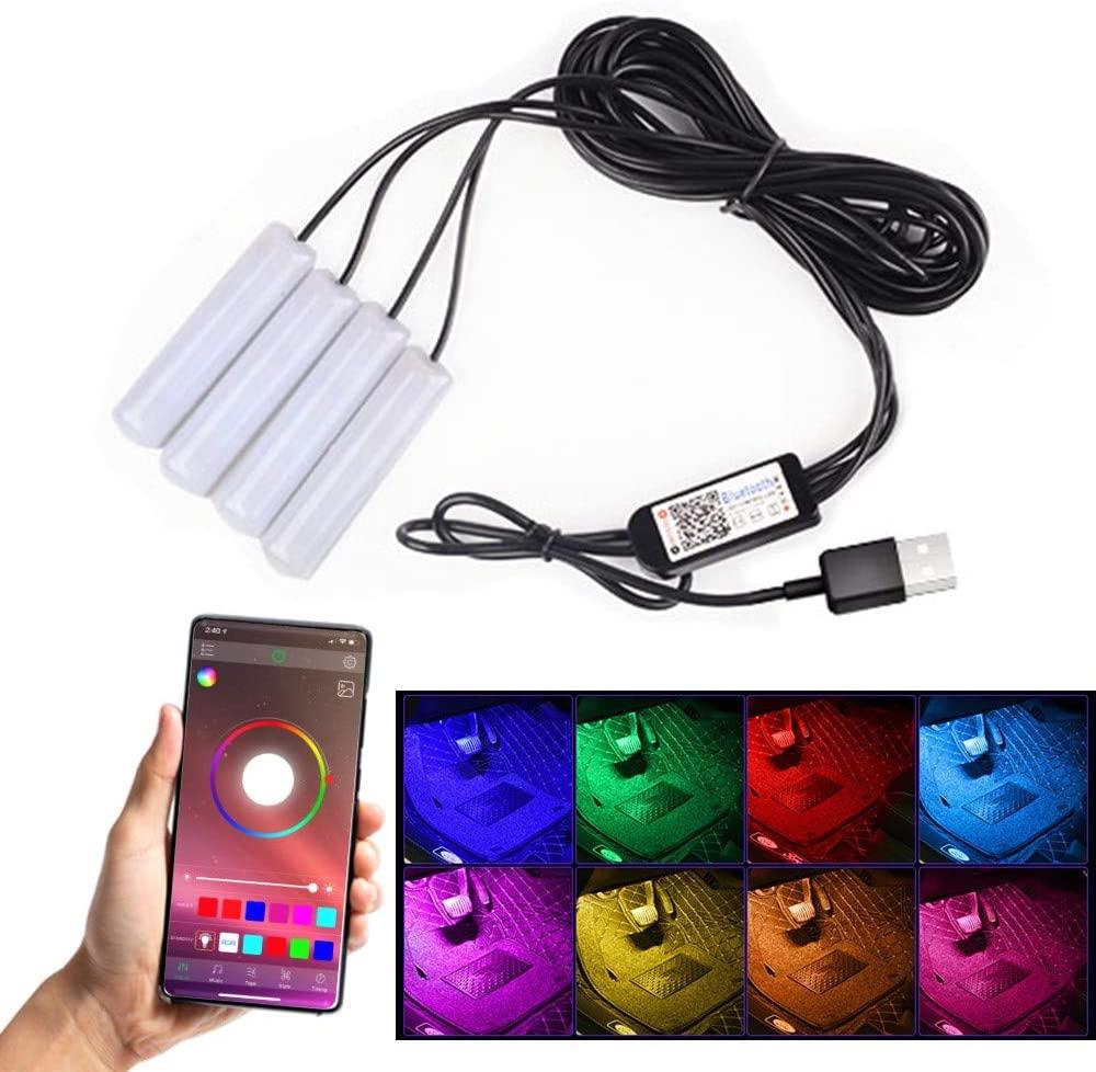Car Light Bar Bluetooth App Controller USB Ambient Footwell Under Dash LED Atmosphere Light
