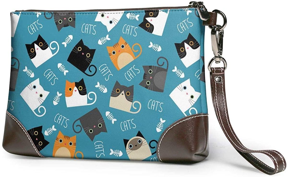 Cartoon Cat Pattern Leather Wristlet Clutch Bag Zipper Handbags Purses For Women Phone Wallets With Strap Card Slots