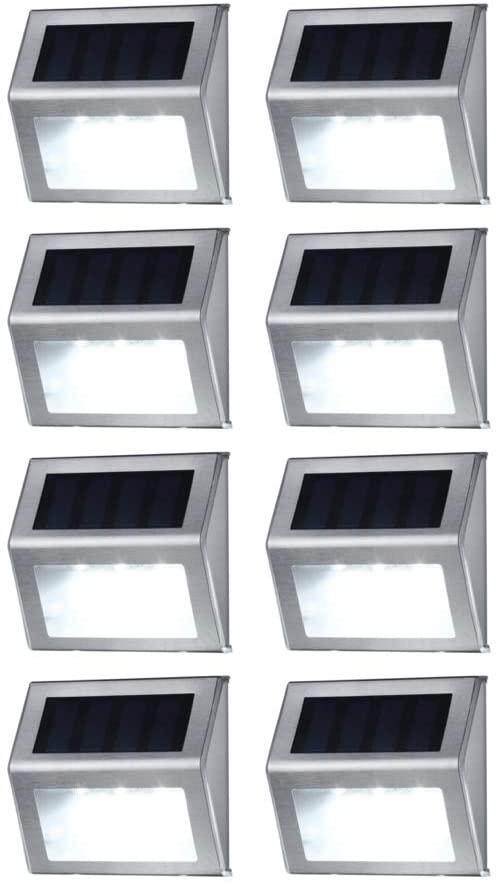 Solar Deck Lights, MEIHONG Stainless Steel Solar Accent Lights Outdoor Waterproof, LED Solar Powered Deck Lights, Solar Step Lights, Patio Solar Stair Lights, Solar Outdoor Lights Wall Mount (8 Pack)