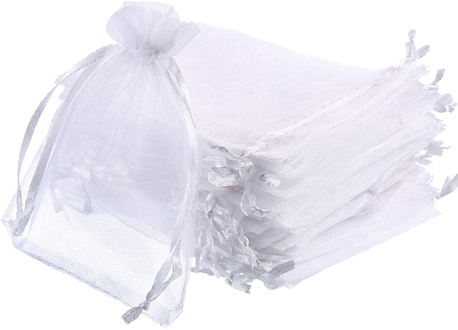 Hestya 200 Pieces White Organza Gift Bags 4 by 4.72 Inch Sheer Drawstring Pouches Jewelry Packing Bags for Wedding Birthday Christmas Party Crafts Favor