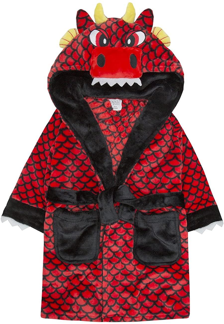 MiniKidz Boys Kids Novelty Fleece Night Gown (Ages 2-6 Years) Hooded Red Dragon Bath Robe