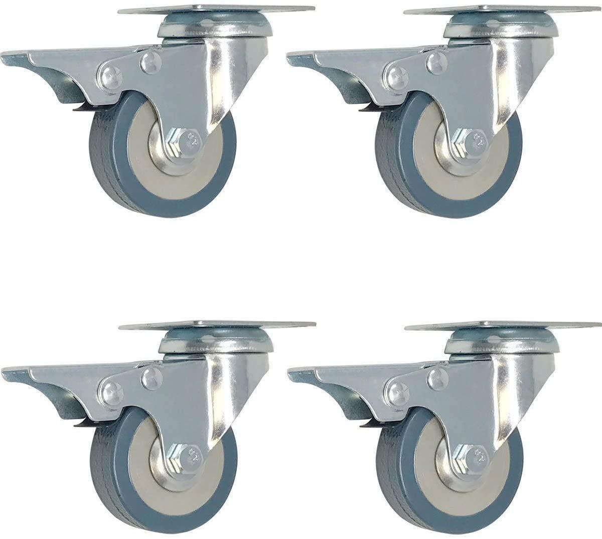 4 Pack 2-Inch Swivel Lock Brake Polyurethane Plate Caster
