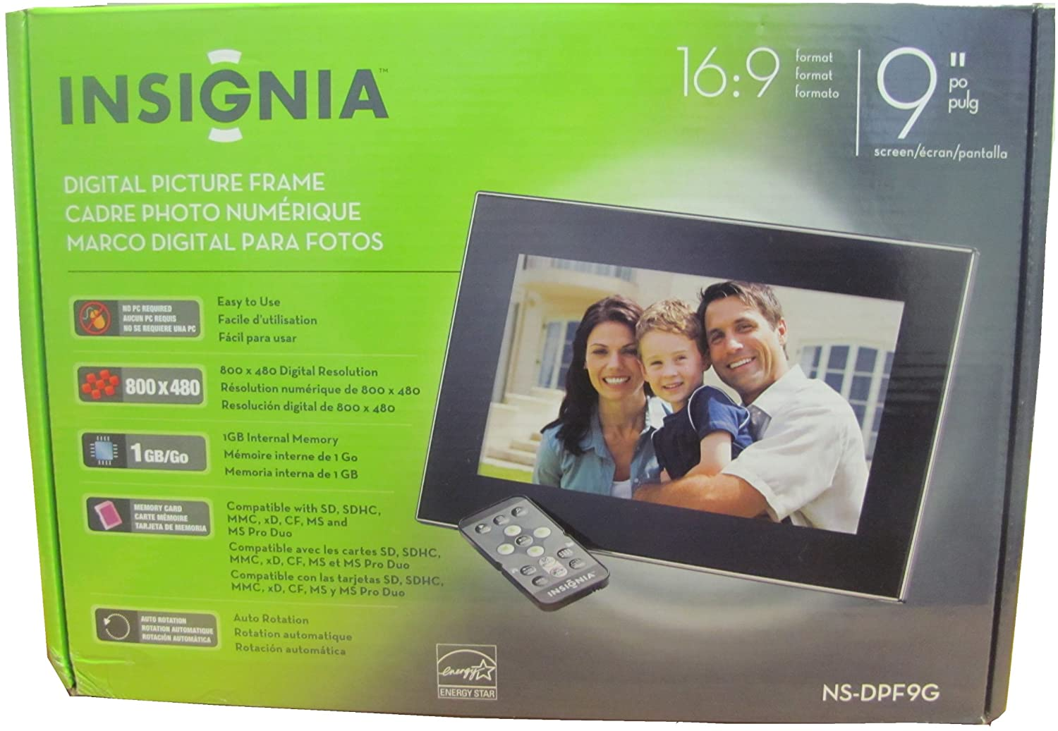 Insignia NS-DPF9G 9-Inch Digital Picture Frame, 1GB Internal Memory