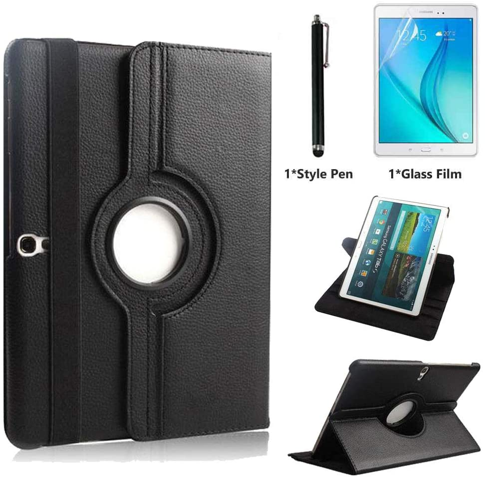 Case for Samsung Galaxy Tab S 10.5 inch (SM-T800 SM-T805) - 360 Degree Rotating Stand Case Full Protective Smart Cover,Bonus Stylus Pen,Screen Film (Balck)