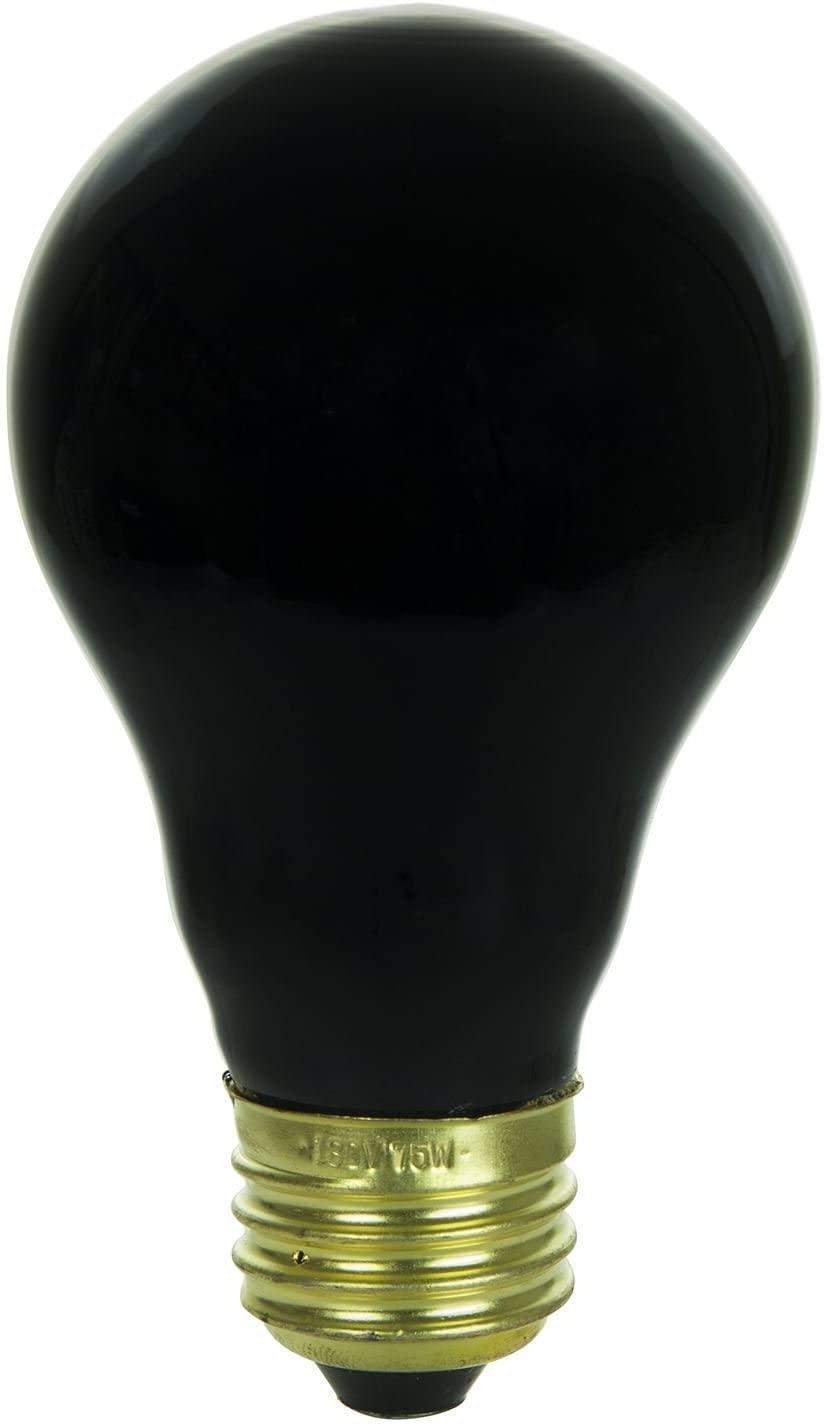 Sunlite 01096-SU 75 Watt A19 Black Light Light Bulb, Medium Base, Ceramic [Pack of 8]