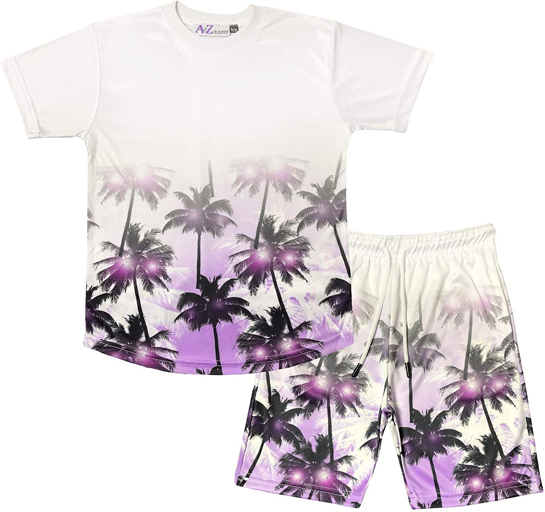 Kids Boys T Shirt Shorts Palm Trees Fade Two Tone Purple Top Summer Short Sets