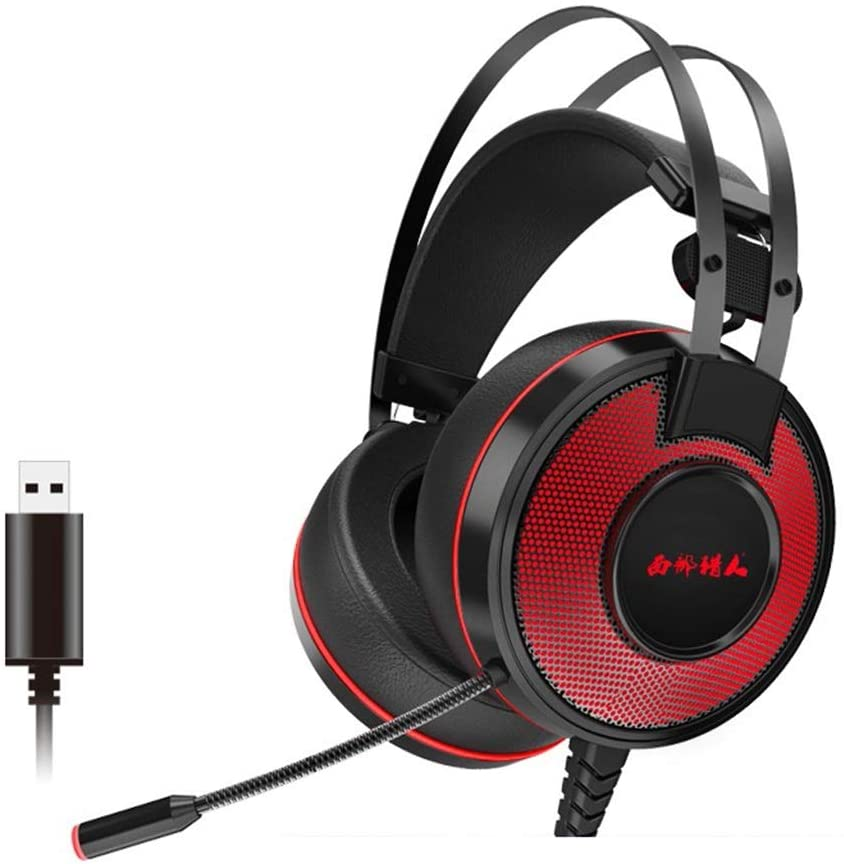 E-Sports Listening Voice with Voice Wired Microphone Stereo Surround Desktop Computer Headset Bass Bass Noise Reduction Game Headset USB Interface (Color : Red)
