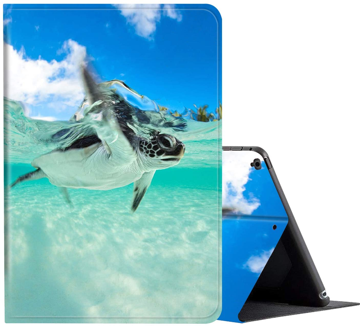 iPad 9.7 Inch 2018/2017 / IPad Air 2 / IPad Air Case, AMOOK PU Leather Adjustable Stand Cover Protection with Auto Wake/Sleep Smart Cover for Apple iPad 6th/5th Gen-Baby Sea Turtle Swimming