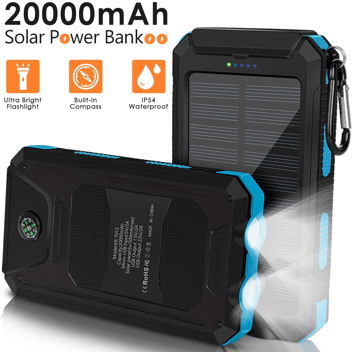 Solar Charger 20000mAh, Portable Solar Power Bank with 1.5W Efficient Solar Panel, Compass, LED Flashlight, 2 Output Ports, External Backup Battery for Camping Outdoor for Phones Tablets and More-Blue