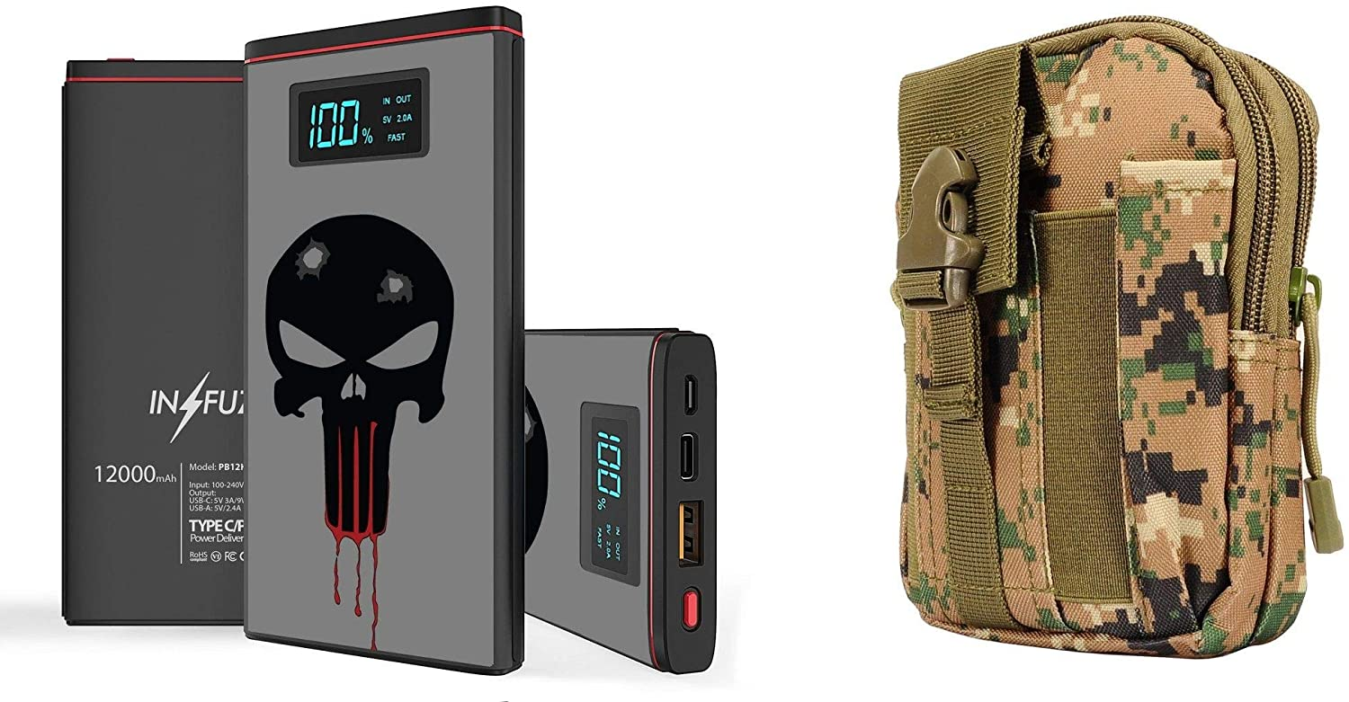 INFUZE Slim 12000mAh Portable Charger Dual Port (USB-A, USB-C) 18W QC 3.0 Power Bank (Bloody Black Skull), Tactical Military Travel Pouch (Jungle Pixel Camo) for Apple iPhone 11, Pro, Pro Max