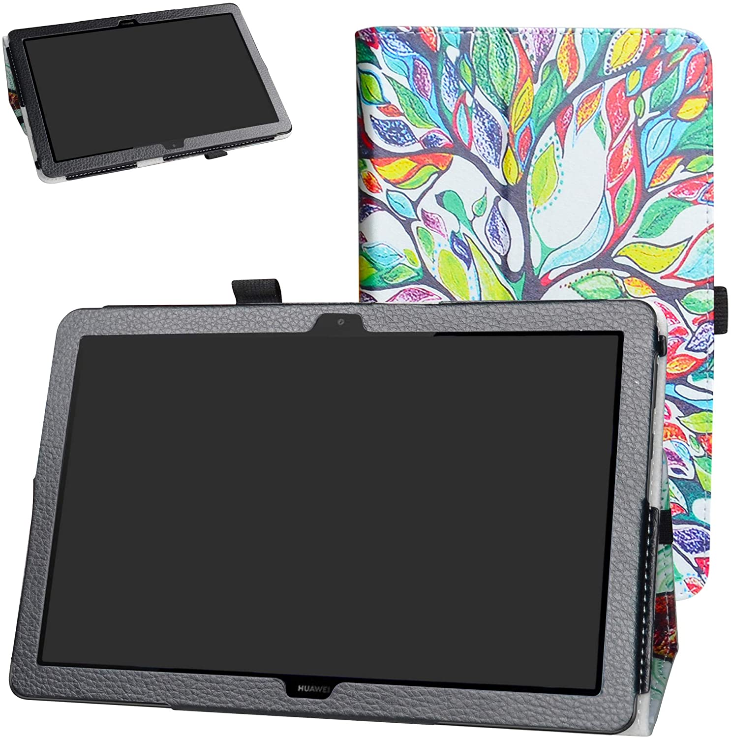 MediaPad T5 10-Inch 2018 Case,Bige PU Leather Folio 2-Folding Stand Cover for Huawei MediaPad T5 10-Inch 2018 Tablet,Love Tree