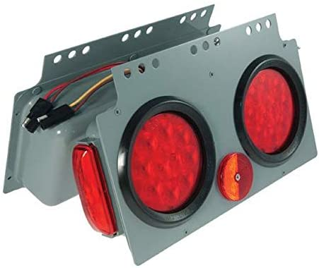 Grote 51012 Gray/Red SuperNova 10-Diode LED Stop Tail Turn Power Module with Sidemarker (Male Pin, RH)