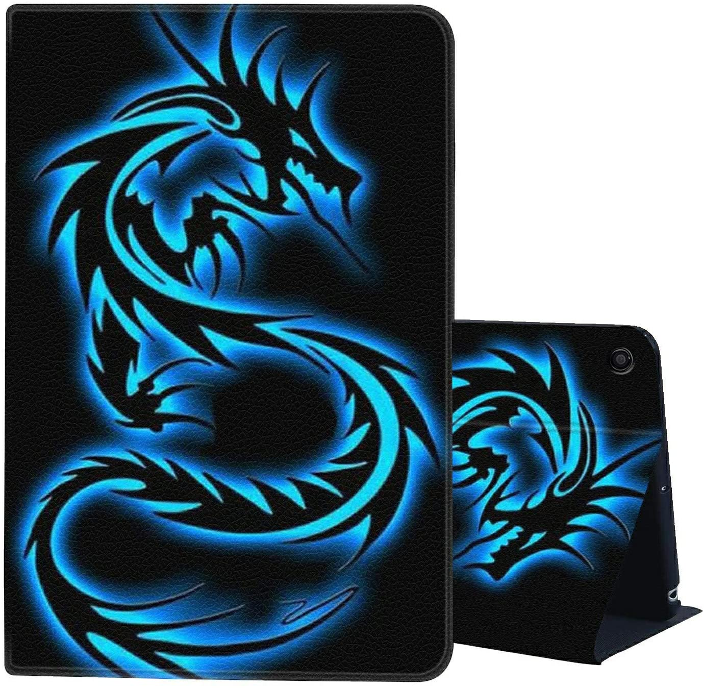 Case for All-New Kindle Fire HD 10 Tablet Case (2019/2017,9th/7th Gen) - AIRWEE Ultra Slim PU Leather+Shockproof TPU Multi Angle Folding Case with Auto Wake/Sleep,Blue Dragon