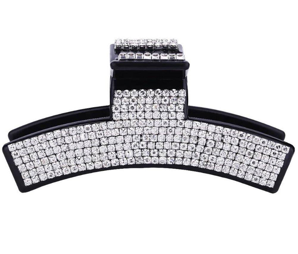 Women Elegant Full Rhinestone Crystal Hair Clip Acrylic Jaw Clip Hairpin Hair Claw Hair Accessories (Black - B#)