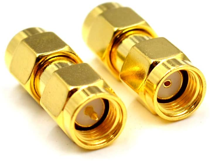 RP SMA Male Jack Hole to SMA Male Plug,SMA Hole to Male Pin RF Connector Straight Gold Plating SMA Male to Female Connector Adapter,SMA Gender Change Adapter
