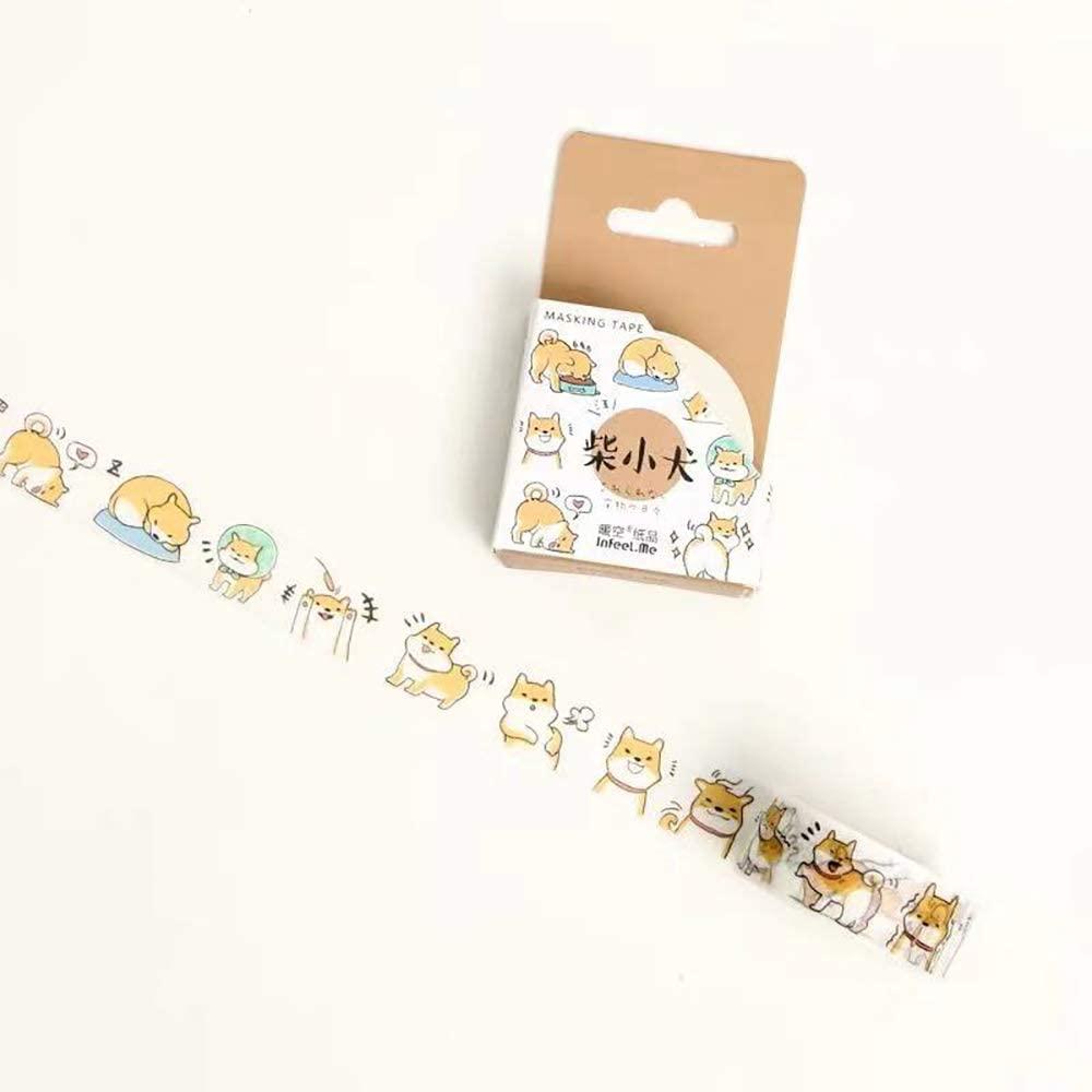 Dog Washi Tape, Boxed Cartoon Washi Tape, Doraking Original Decorative Cartoon Dog Masking Washi Tape for Scrapbook, Gift Wraps, Penholders, Pen Cases (Dog, 1 Roll/Box)