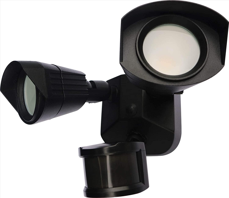 NUVO 65/215 Head Security LED Security Light Dual Head Black Finish, 3000K, Motion Sensor