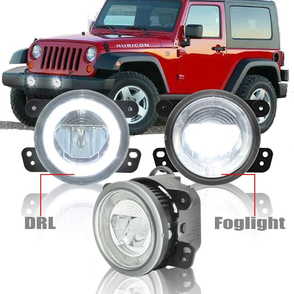 Round Led Fog Lights Assembly - NSLUMO 10W 6000K White Halo Ring DRL Daytime Running Light For Jeep Wrangler Cherokee E4 Approved