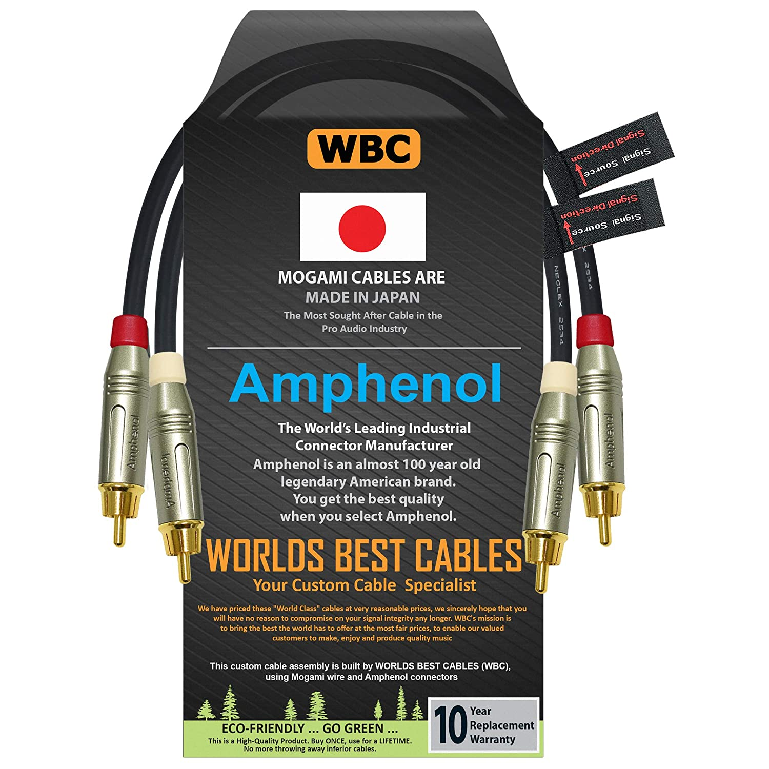 0.5 Foot – Directional Quad High-Definition Audio Interconnect Cable Pair Custom Made by WORLDS BEST CABLES – Using Mogami 2534 Wire and Amphenol ACPR Die-Cast, Gold Plated RCA Connectors