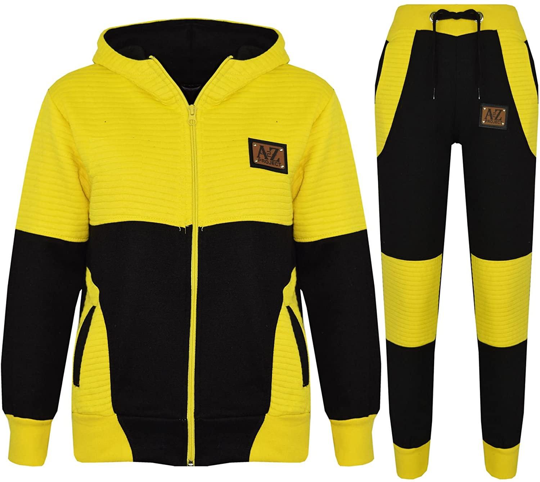 Boys Girls Jogging Suit Kids Designer Black & Yellow Tracksuit Zipped Top Bottom