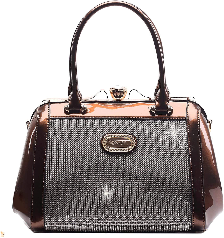 Crystal Stud Top Handle Cross Body Purse   3D Laser Cut Metallic Shiny Face   PVC Fashion Handbag   Affordable Convenient