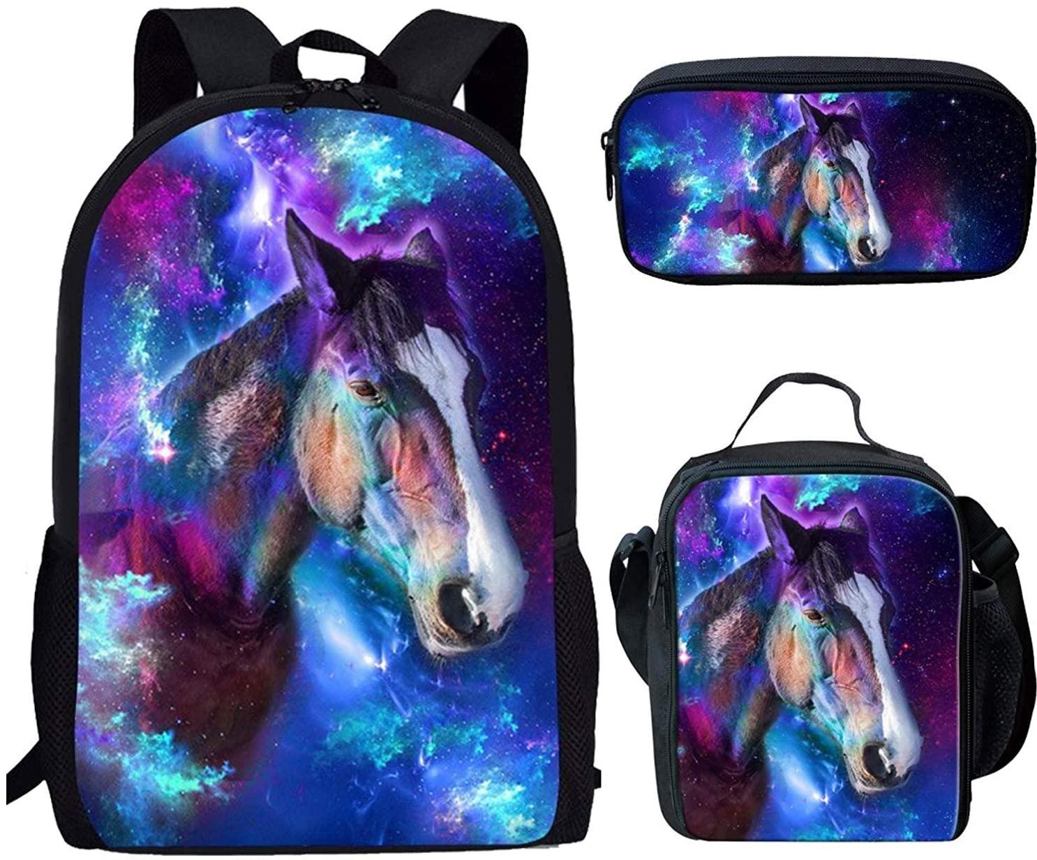 FOR U DESIGNS Universe Horse Backpack Set 3 Piece,High School Backpack for Women Teen Girls