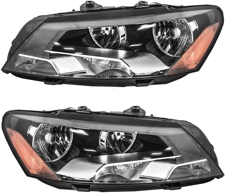 Replacement Pair Set Halogen Combination Headlights Headlamps Compatible with 2012 2013 2014 2015 Passat 561-941-005D 561-941-006D