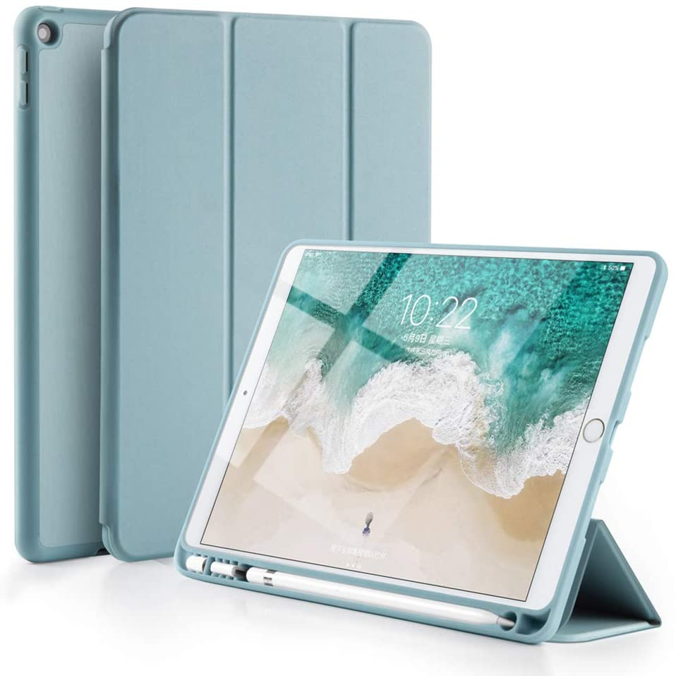 GUDOU 2019 New iPad 7th Generation 10.2 inch Smart Case with Pencil Holder,Premium Trifold PU Leather+Soft Rubberized Stand Cover with Rebound Pencil Slot,Auto Sleep/Wake (Blue)