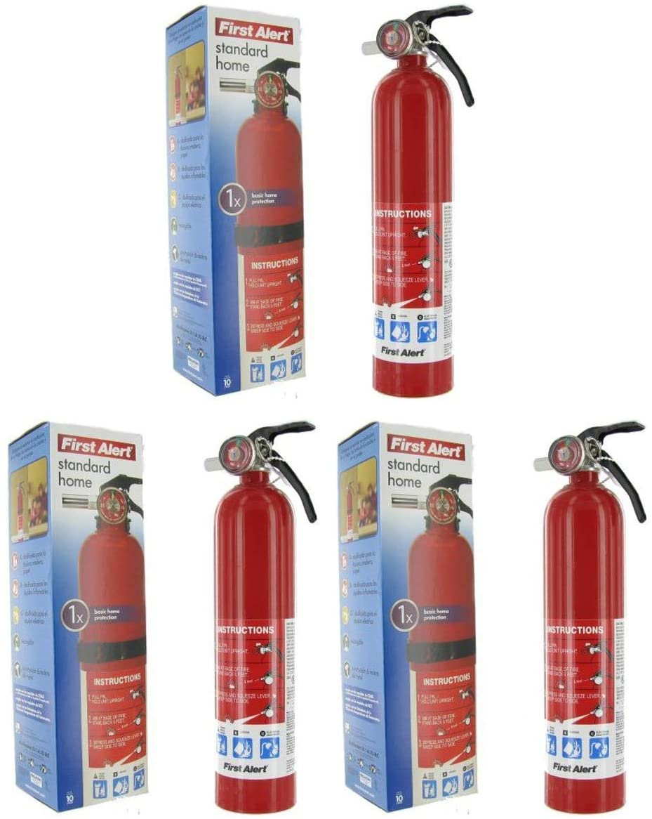 First Alert gnb HOME1 ABC 2.5 Pound Rechargeable Fire Extinguisher-HOME1-1-A:10-B:C-10-Year Warranty 3 Pack