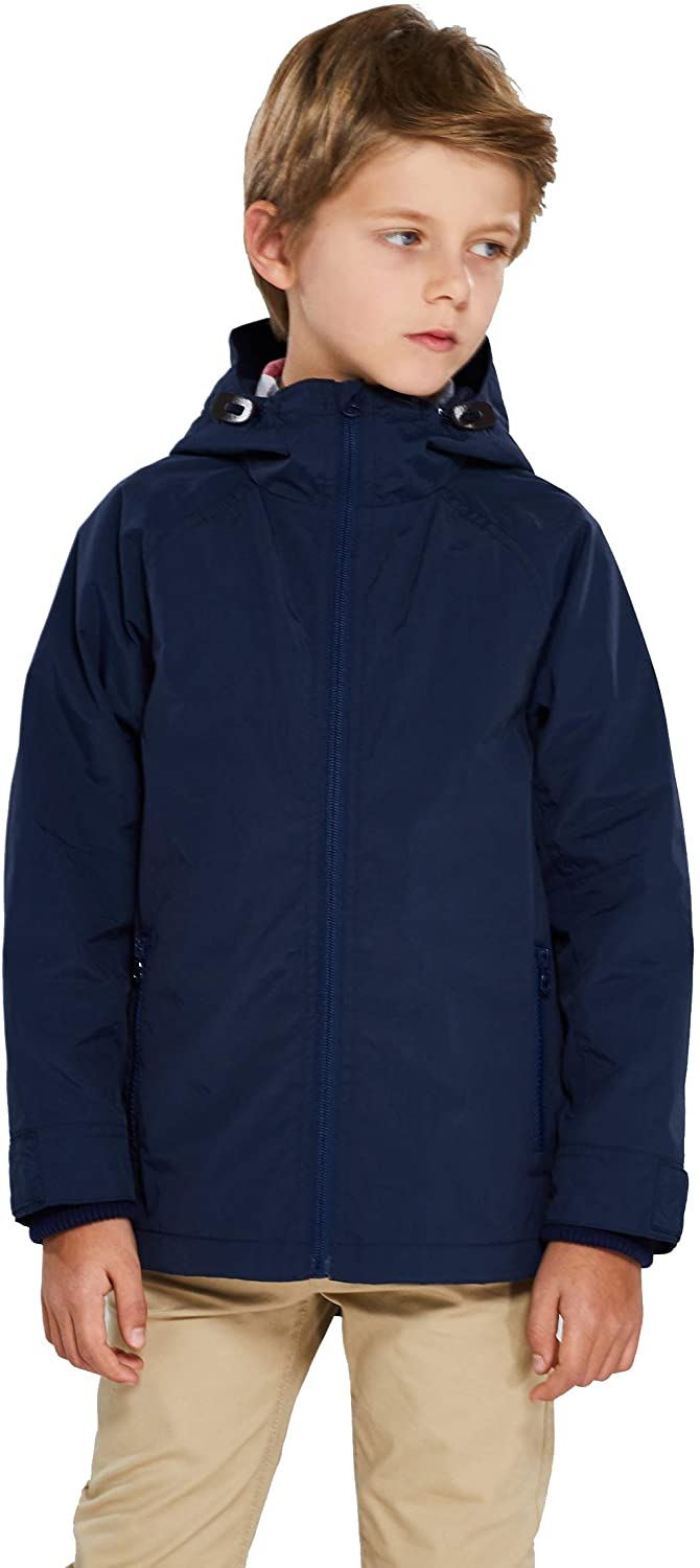 SOLOCOTE Boys Jackets Lightweight Watar Anorak Coats Kids Fleece Lined with Hooded 3-14Y