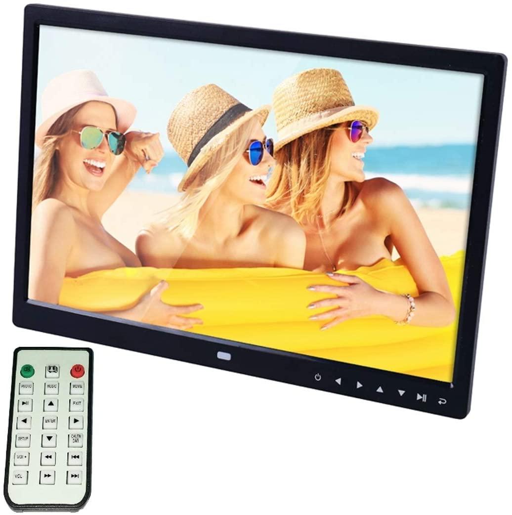 KANEED 15.0 inch LED Display Digital Photo Frame with Holder/Remote Control, Allwinner, Support USB/SD Card Input/OTG(Black) Digital Photo Frame (Color : Black)