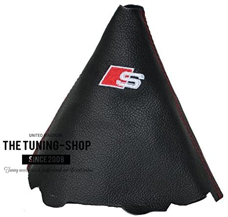 The Tuning-Shop Ltd for Audi A5 2008-15 Gear Gaiter Black Italian Leather Sline Logo Embroidery Red Stitching