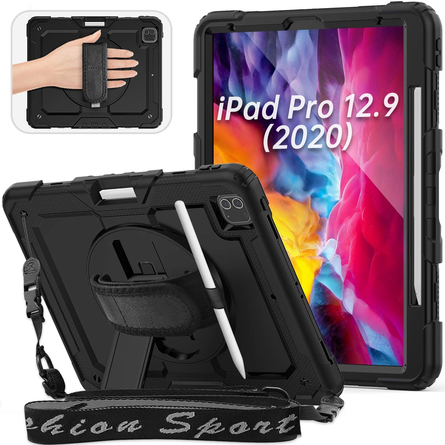 """HXCASEAC Case for New iPad Pro 12.9"""" 2020/2018, Rugged Shockproof Case with [Rotating Hand Strap/Adjustable Shoulder Strap/Screen Protector/Pen Holder/Stand], Support iPad Pencil Charging, Black"""
