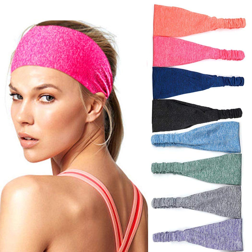 Bohend Fashion Sports Headband Wide Stretchy Yoga Daily Use Solid Hair Band Pure Workout Gym Hair Accessories for Women and Men (F)