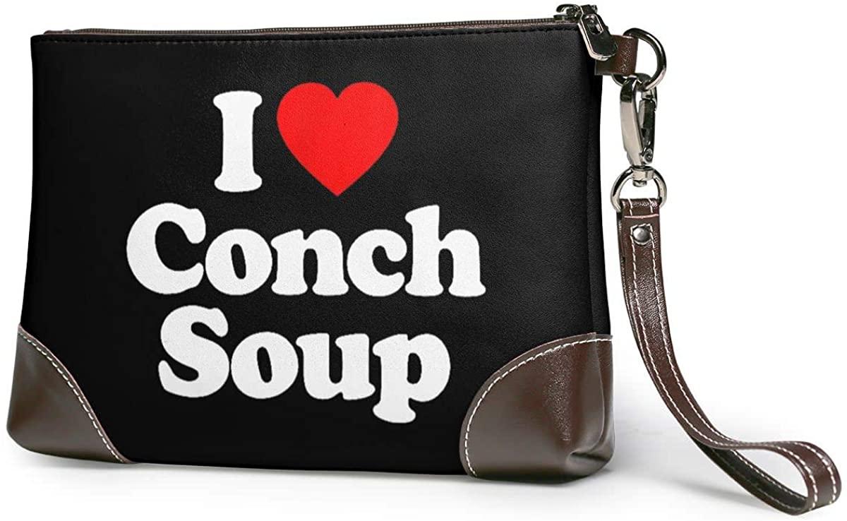 I Love Conch Soup Heart Leather Clutch Fashion Handbag Phone Wristlet Purse