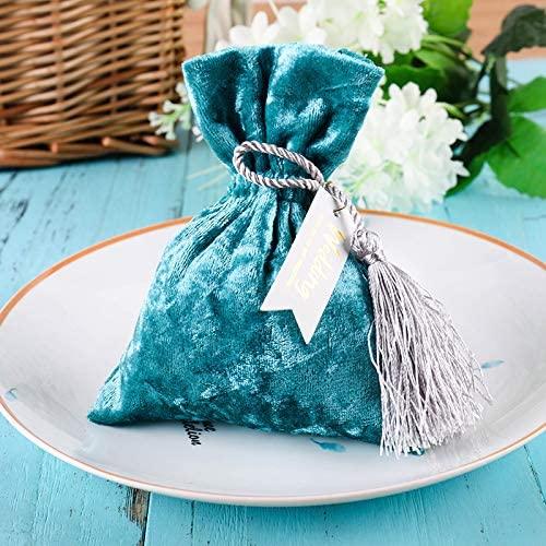 DEVILFACE Pleuche Gift Bags, 10pcs Blue Pleuche Drawstring Pouches Wedding Party Candy Favor Bags Jewelry Pouches, 13.5CM X 10.5CM(5.3