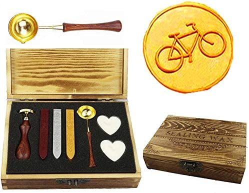MNYR Vintage Bike Sealing Wax Seal Stamp Kit Melting Spoon Wax Stick Candle Wooden Book Gift Box Set Wedding Invitation Embellishment Holiday Card Gift Wrap Package Gift Idea Seal Stamp Set