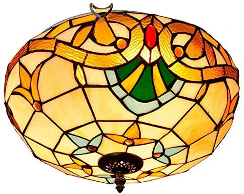 DIMPLEYA Creative Mediterranean Vintage Tiffany Stained Glass Aisle Corridor Balcony Foyer Bedroom Ceiling Light 40cm Tiffany Style Ceiling Lamps Tiffany Style Sucking