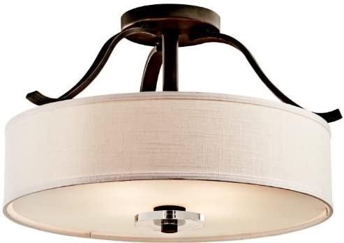 Kichler 42486OZ, Leighton Round Crystal Semi Flush Ceiling Lighting, 4 Light, 400 Watts, Olde Bronze