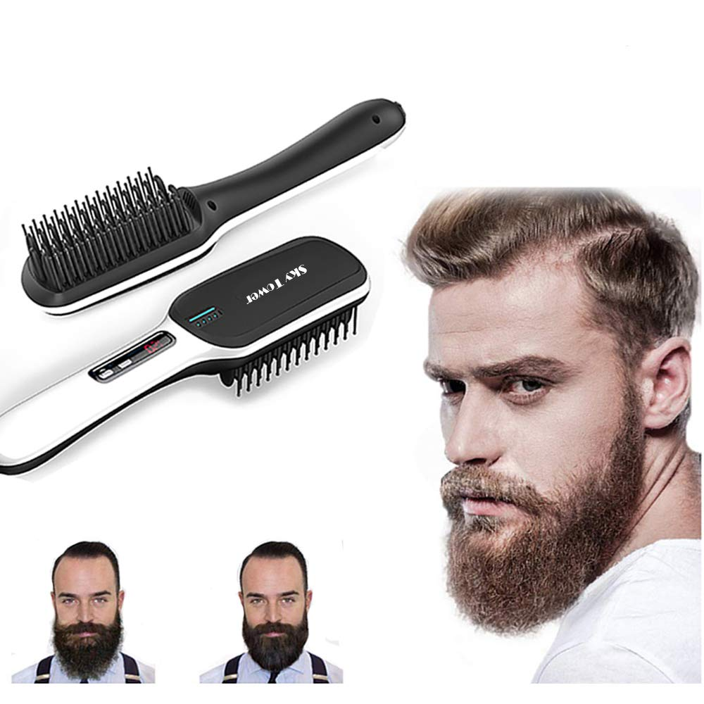 Sky Tower LED Display Ionic Beard Straightener for Men Hair Straightening Comb Hot Brush, PTC Ceramic Heating, Auto Shut Off Anti-scald Faster Adjustment Heating Temperature Lock Styling Tool