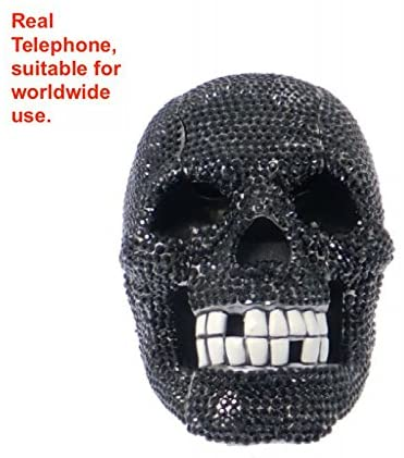 blingustyle Crystals Skull Design Real Telephone for Home Office and Gift Black