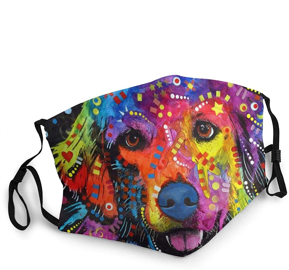 German Golden Retriever Art Reusable Face Nose Mouth Cover with Adjustable Earloops Dust Mouth Mask for Kids Women Men
