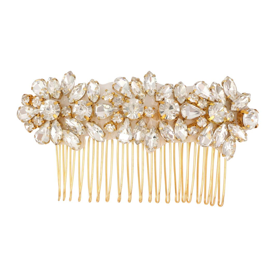 LovShe Rhinstone Hair Comb Gold Bridal Hair Accessories for Women Wedding Crystal Hair Comb