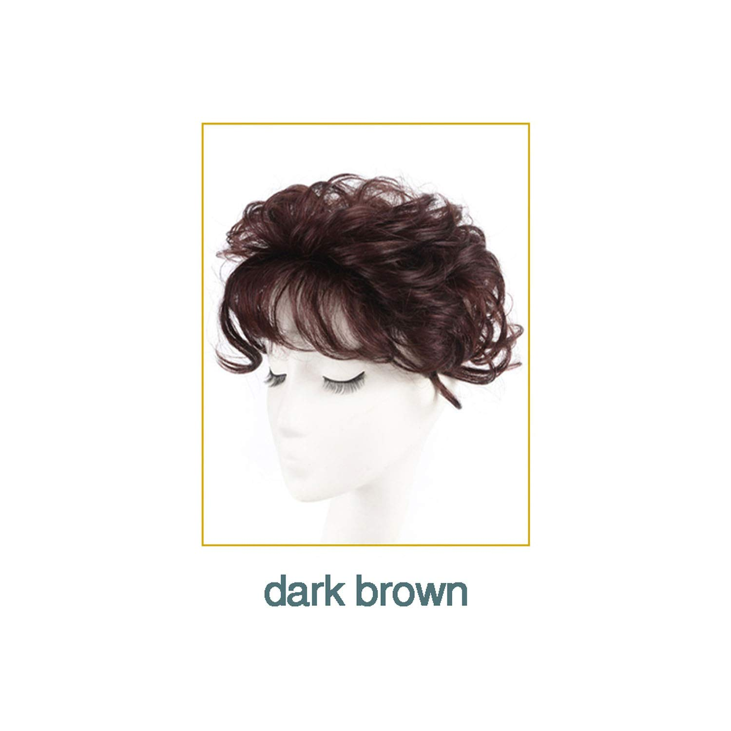 LIES Toupee with Bangs Synthetic Curly Hair Hand made Topper Hairpiece Clip In Hair Extensions Clip Hair Topper Synthetic Clip,dark brown,Picture display leng